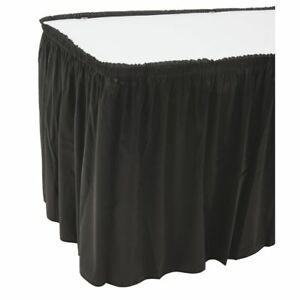 Snap Drape Table Skirting Flame retardant Shirred Black Polyester 29 H X 17