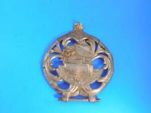 Majestic Wood Stove Sailing Ship Decorative Door Piece Cast Iron Plated Exc