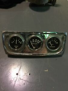 Vintage 1960s Stewart Warner Panel Gauge Cluster Pod Amps Pressure Oil Chrome