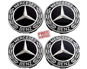 Mercedes Benz Wheel Center Caps Black And Chrome Hubcaps 75mm 4 Pieces Free Ship