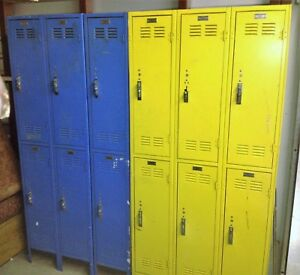 Old Vintage Metal Steel Worley Lockers Industrial School Gym Athletic Antique