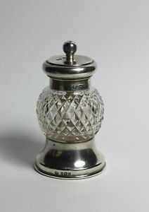 Sterling Silver Antique Cut Glass Pepper Mill 1910 William Hutton Sons Ltd