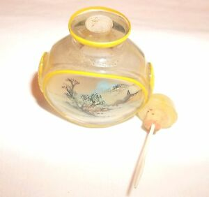 Vintage Reverse Painting Snuff Perfume Bottle Oriental Scene Collectble Look