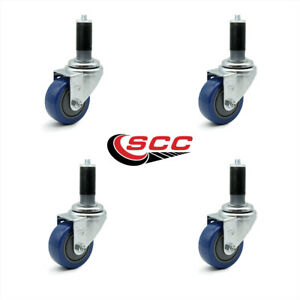 Scc 3 5 Blue Polyurethane Caster W 1 1 4 Expanding Stem Set Of 4
