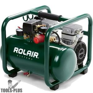 Rolair Jc10plus 1hp Air Compressor Ultra Quiet 2 cyl 125psi Rgltr
