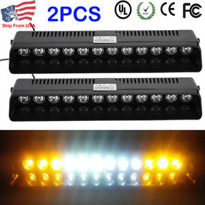 Power 2x12 Led Warning Strobe Visor Light Bar Windshield Flash Emergency Lamps