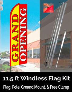 Grand Opening yellow red Flutter Feather Banner Flag Kit flag Pole Mount