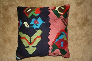 Turkish Kilim Rug Pillow Cushion Cover With Insert Hand Woven Wool 16 X 16