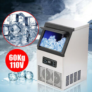 60kg 130lbs Auto Commercial Ice Cube Maker Machines Bar Freezers 110v 230w Us