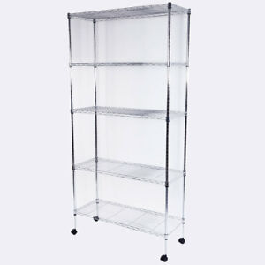 3 4 5 Tier Wire Rack Metal Steel Shelf Shelving Adjustable Garage Storage Wheel
