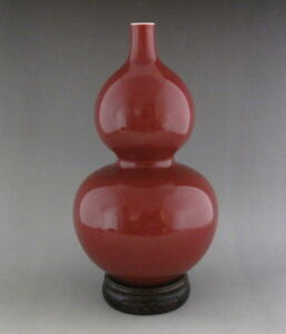 Perfect Chinese Monochrome Ox Blood Red Glaze Porcelain Vase With Mark