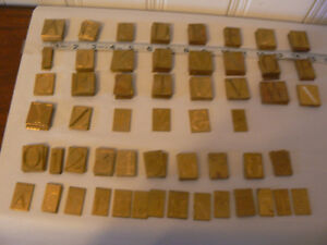 Vintage new Hermes Brass 1 Engraving Plates Lot Of 170 Letters