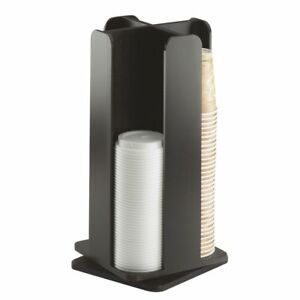 Cal mil Midnight Black Bamboo Revolving Lid And Coffee Cup Dispenser 4 section