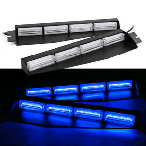 32 Led Car Emergency Strobe Warning Visor Dash Light Bar Flashing Lamps Blue