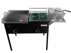 Taco Cart With 18 X 16 Stainless Steel Griddle Dual Burner 2 Deep Trays 3 In 1