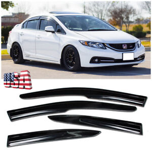 Window Visor For 2012 15 Civic 4dr Jdm Mugen Ii Rain Guard Deflectors Fb6 Si Ygv