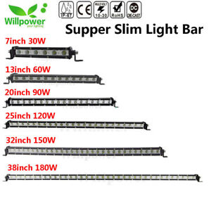 7 13 20 25 32 38 Inch Single Row Slim Led Work Light Bar For Car Off Road Truck