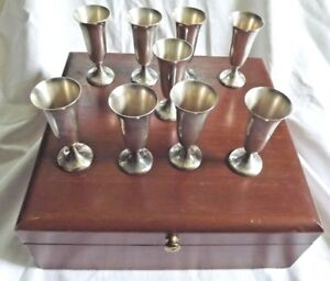 9 Gorham 951 Sterling Silver Cordial Cups Shot Glasses With Original Wooden Box