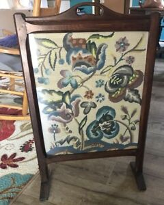 Antique Wooden Fireplace Screen With Floral Needlepoint