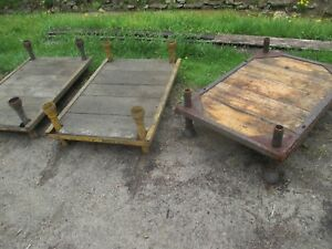 Industrial Factory Cart Coffee Table Cast Iron Legs Stack For Table
