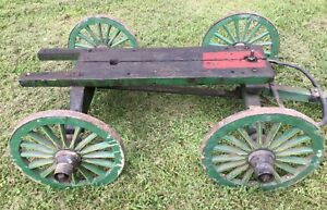 Vintage Antique Wooden Hit Or Miss Engine Wagon Cart Truck 19 Wheels