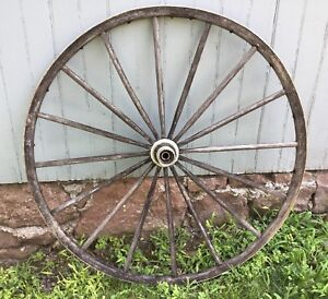 Vintage Antique Wagon Carriage Buggy Wheel Wood Metal Wrap Primitive 37 Cart