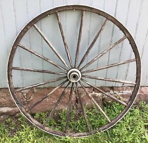 Vintage Antique Wagon Carriage Buggy Wheel Wood Metal Wrap Primitive 39