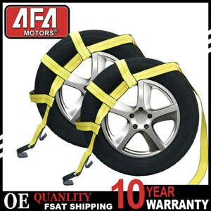 Tow Dolly Basket Straps W Flat Hook Adjustable Heavy Duty Tire Bonnet Usa Made