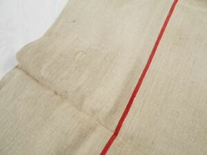 Vtg Antique Single Red Stripe European Hemp Linen Feed Sack Grain Bag 21x51