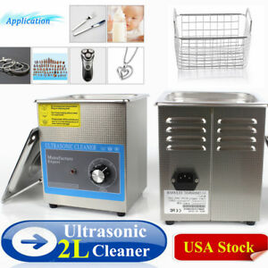2l Liter Industry Heated Stainless Steel Ultrasonic Cleaner Heater timer Us