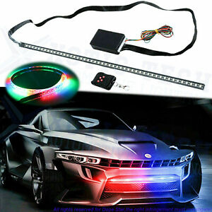 7 Color Rgb 48smd Led Knight Rider Strip Under Hood Behind Grille Light Bar 24