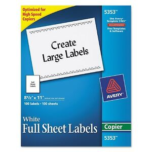 Avery 5353 Copier Full Sheet Labels 8 5 X 11 White 100 Labels