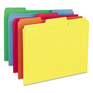 Smead 1 3 Cut Assorted Positions File Folders Letter 100ct Bright Assortment