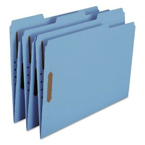 Smead 1 3 Cut Assorted Positions File Folders Two Fasteners Letter 50ct Blue