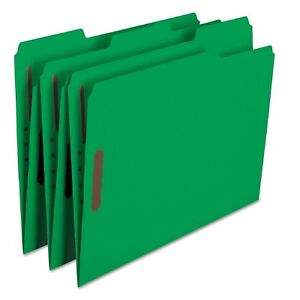 Smead 1 3 Cut Assorted Positions File Folders Two Fasteners Letter 50ct Green