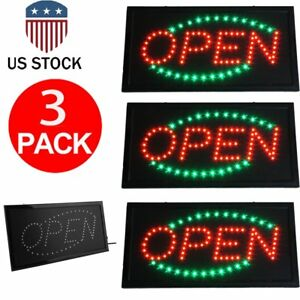 3 X Ultra Bright Open Led Sign Animated Motion On off Switch Open Business Us Vp