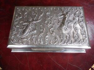 Siam Sterling Silver Hand Worked Repousse Cigarette Box