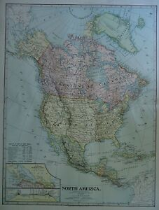 Vintage 1899 North America Map Authentic Original 110 Year Old 80618