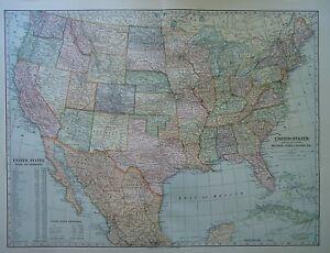 Vintage 1899 United States Map Authentic Original 110 Year Old 80618