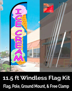 Ice Cream blue pink Windless Feather Banner Flag Kit flag Pole