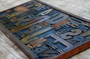Unique Collage Composition Letterpress Wood Type Characters Drawer Design Rare