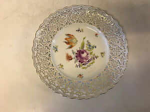 Antique German Rl Dresden Reticulated Porcelain Plate W Hand Painted Flowers Dec