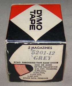Box Of 5 Dymo Embossing Tape 5201 12 Glossy Grey 3 8 X 12 Ft New Label Labeling