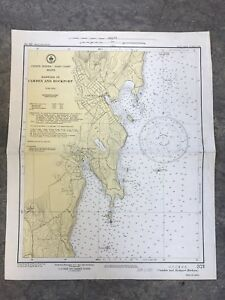 Vintage Rare 1951 Nautical Chart Maine Camden Rockport Harbors Sailing Noaa