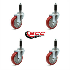 Scc 4 Red Polyurethane Swivel Casters W 3 4 Expanding Stem Set Of 4