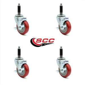 Scc 4 Red Polyurethane Caster W 3 4 Expand Stem W brake Set Of 4
