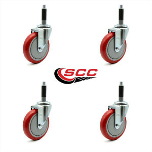 Scc 5 Red Polyurethane Swivel Casters W 3 4 Expanding Stem Set Of 4