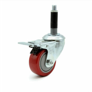 Scc 3 Red Polyurethane Caster W 3 4 Expanding Stem W total Lock Brake