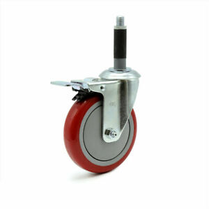 Scc 5 Red Polyurethane Caster W 3 4 Expanding Stem W total Lock Brake