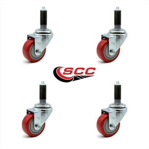 Scc 3 Red Polyurethane Swivel Caster W 7 8 Expanding Stem Set Of 4